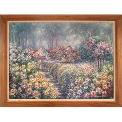 Huijie Li, Flower Garden, Oil Painting
