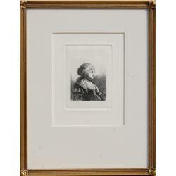 Rembrandt van Rijn, Saskia with Pearls in Her Hair, Etching