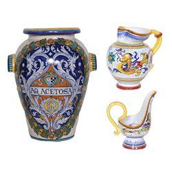 Lot of 3 Sberna Deruta Ceramics - Vase, Pitcher & Candle Holder