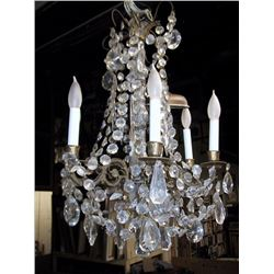 Antique Crystal Beaded Chandelier with Crystals