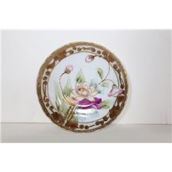 Imperial Nippon Saucer with Lotus Design, Hand Painted Porcelain Plate with Gold Leaf