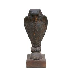 Owl, Cast Iron Fence Finial with Glass Eyes on Wood Base