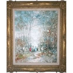 Stefanos Sideris, Winter Forest Scene, Oil Painting