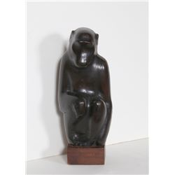 Joseph Constant, Monkey, Hand-Carved Wood Sculpture