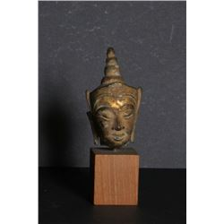 Thai Goddess Head, Carved Stone with Gold affixed to Wood Base