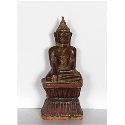Thai Buddha, Hand-Carved and Painted Wood Sculpture