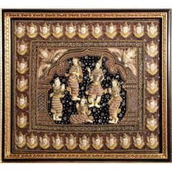 Thai Five Goddesses, Batik Embroidered Tapestry with Sequins and Crystals