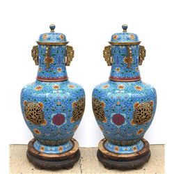 Chinese Pair of Blue Floral Cloisonne Tall Enameled Copper Urns