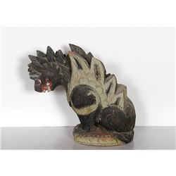 Chinese, Dragon, Hand-Carved and Painted Wood Sculpture