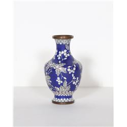 Chinese, Blue and White Floral, Cloisonne Porcelain Vase