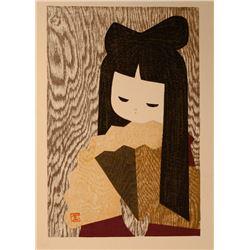 Kaoru Kawano, Young Girl with Fan, Woodblock