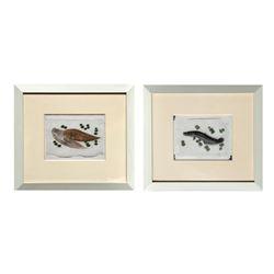 Lot of 2 Japanese Eel & Flounder, Watercolor Paintings