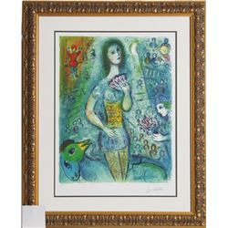 Marc Chagall, Lady with Fan, Offset Lithograph, Facsimilie Signed