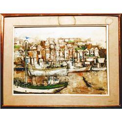 William Thon, Brixham Harbor, Watercolor Painting