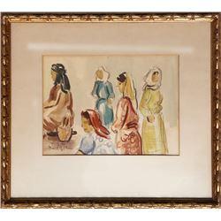 David Gilboa, Market Women, Watercolor Painting