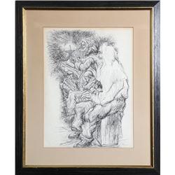 Seymour Rosenthal, Men Praying with Menorah, Ink Drawing