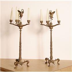 Pair of Gilt Bronze Five-Arm Candelabras, Greek Style