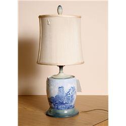 European Cityscape, Blue Glazed Porcelain Lamp