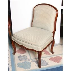 Armless Side Chair, Light Green and Off-White Upholstry Side Chair