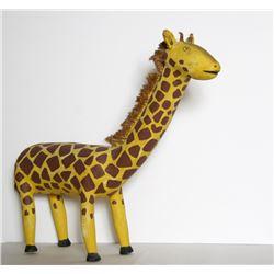 David Alvarez, Giraffe, Carved Wood, Bristles and Paint Folk Sculpture
