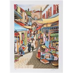 Ari Gradus, Old Jerusalem Market, Lithograph