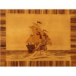 Oskar Higlister, Santa Maria, Wood Inlay Wall Artwork