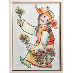Jovan Obican, Woman with Flowers, Watercolor Painting