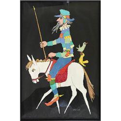 Jovan Obican, Don Quixote on Horse, Acrylic Painting