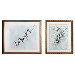 Lot of 2 Max Karp, Winter Bird, Lithographs
