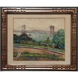 Laura Wolf, Verrazano Bridge, Watercolor Painting