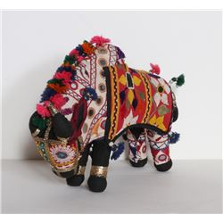Indian, Folk Art Flower Bull, Stuffed Animal with Collaged Fabrics and Mirrors
