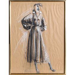 Fausto Sarli, Overcoat Fashion Sketch, Pastel Drawing