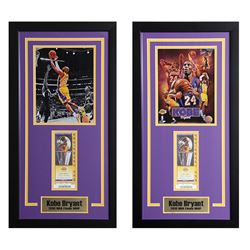 Lot of 2 Kobe Bryant - NBA Finals MVP Offset Prints with LA Lakers Tickets
