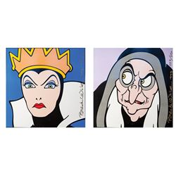 Lot of 2 Brenda White, Snow White - Evil Queen and Witch, Ceramic Tiles