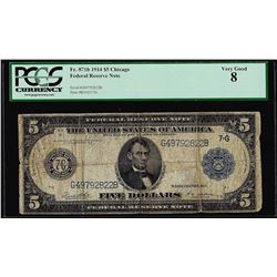 1914 $5 Federal Reserve Note Chicago Fr.871b PCGS Very Good 8