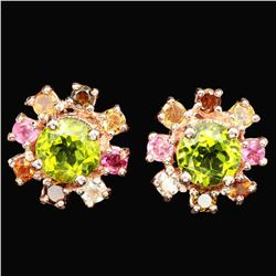NATURAL PERIDOT & MULTI COLOR TOURMALINE Earrings