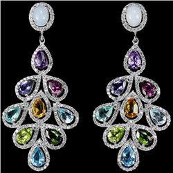 Natural White Opal & Multi Gemstone Earrings