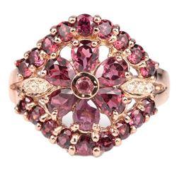 NATURAL PURPLISH PINK RHODOLITE Flower Ring
