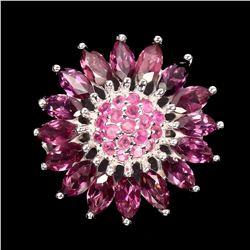 Natural  Pink Ruby Rhodolite Garnet Ring