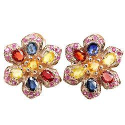 MULTI COLOR SAPPHIRE & RED RUBY Flower Earrings