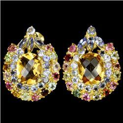 NATURAL 11X9 MM CITRINE TOURMALINE & TANZANITE Earring