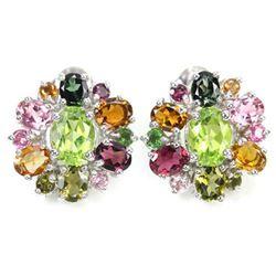 NATURAL GREEN PERIDOT & TOURMALINE Earrings