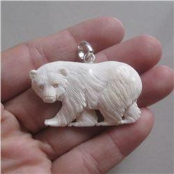Hand Carved Bear Cub Pendant