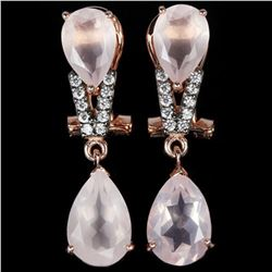 NATURAL 12X8 MM. & 10X7MM ROSE QUARTZ Earrings