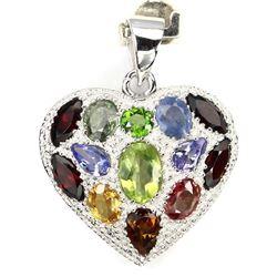 Natural Peridot Sapphire Tanzanite Heart Pendant