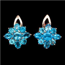 Natural AAA Neon Blue Apatite 22.68 Ct Earrings