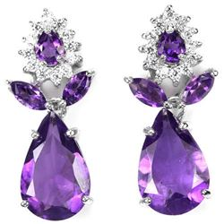 NATURAL AAA PURPLE AMETHYST 23x10 Mm Earrings