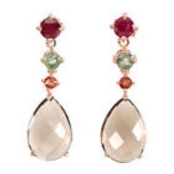 Natural 15x10mm Top Smoky Quartz Ruby Sapphire Earrings