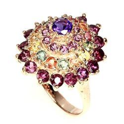 Natural Amethyst Rhodolite Garnet Fancy Sapphire Ring