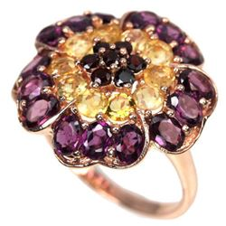 NATURAL MULTI COLOR CITRINE RHODOLITE GARNET Ring